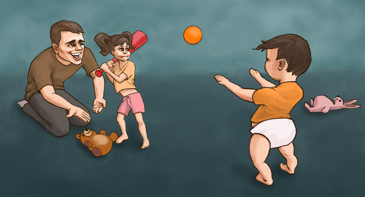"""Hey Zack, that's a nice throw, little boy. Good job."" (Illustration by Brooke Howell)"