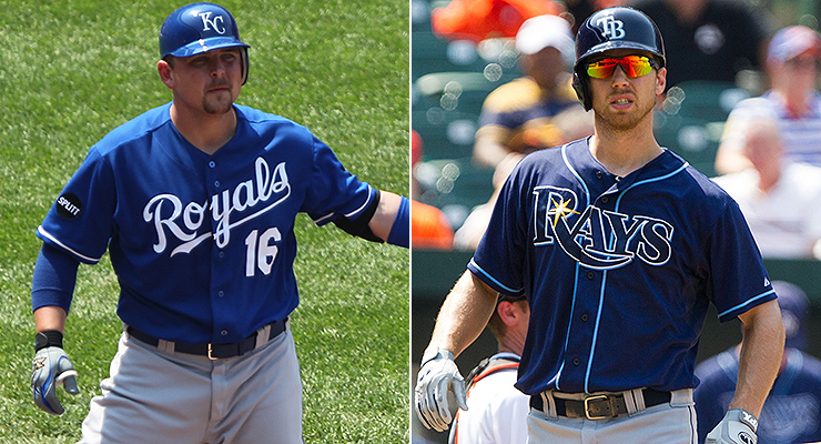 Billy Butler and Ben Zobrist had a very different mix of hits (pics via Keith Allison).