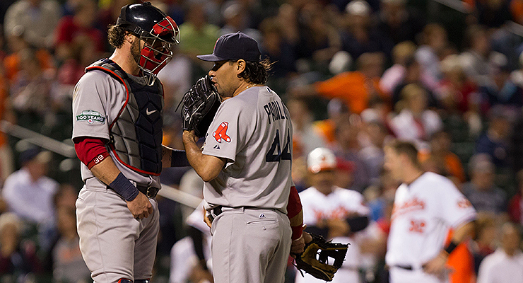 Vicente Padilla, trying to talk Jarrod Saltalamacchia into another eephus pitch, probably (via Keith Allison).