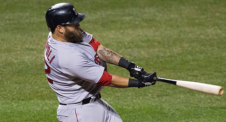 Mike Napoli is good at hitting fly balls (via Keith Allison).