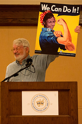"Peter Dreier stops the show with his ""Rachel the Riveter"" illustration that captured the ongoing ""can do"" spirit of Rachel Robinson."
