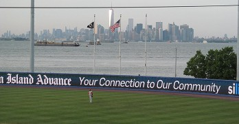The backdrop for most minor league ballparks isn't one of the largest cities in the world (via Doug Kerr).