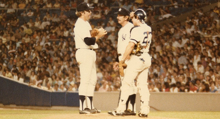 Catfish Hunter (with Billy Martin and Brad Gulden in 1979) died 15 years ago today (via Jim Accordino).
