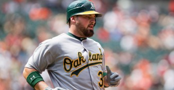 Derek Norris helped contribute to the A's league-leading walk rate. (via Keith Allison)