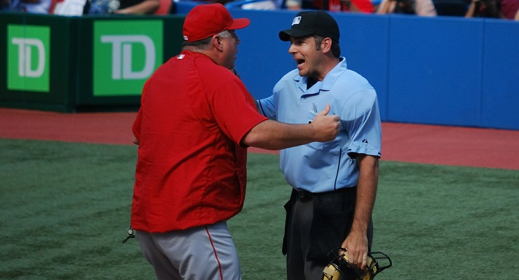 Mike Scioscia was ejected three times in 2014. (via James G.)