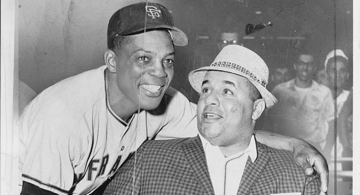 Roy Campanella (right) and Willie Mays (left) were staples of New York baseball when the Dodgers were in Brooklyn. (via Library of Congress)