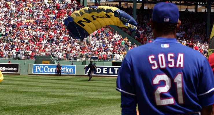 Sammy Sosa posted a 96 wRC+ with the Texas Rangers in his final season in the majors. (via U.S. Navy)