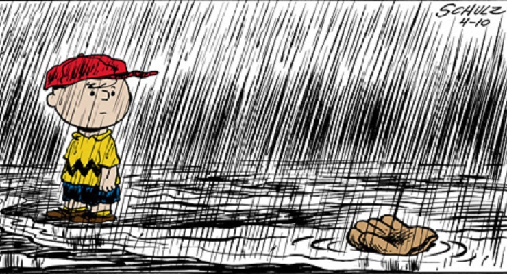 Charlie Brown has had a lot of rainy days.