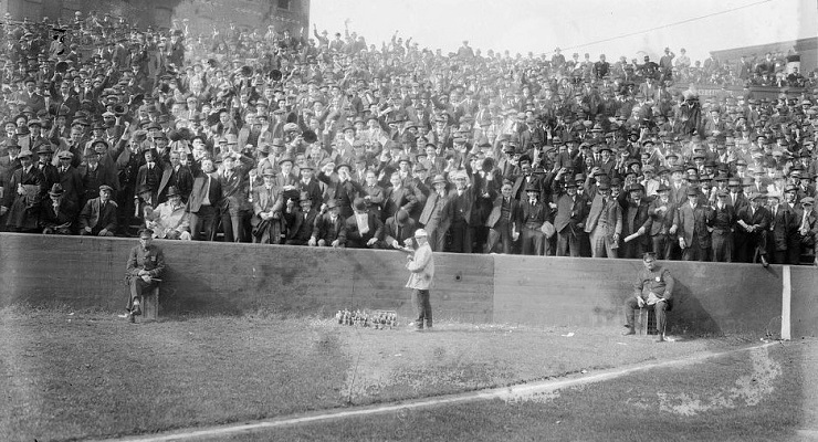 The Baker Bowl bleachers were packed in 1915, presumably to see Cy Williams. (via Bain News Service)