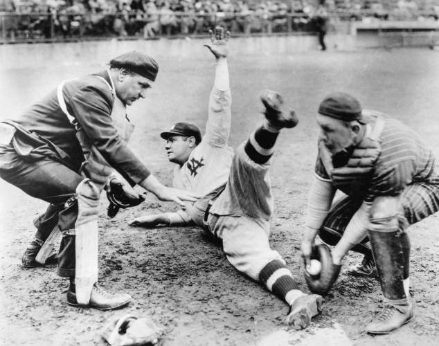 Babe Ruth Slides Home