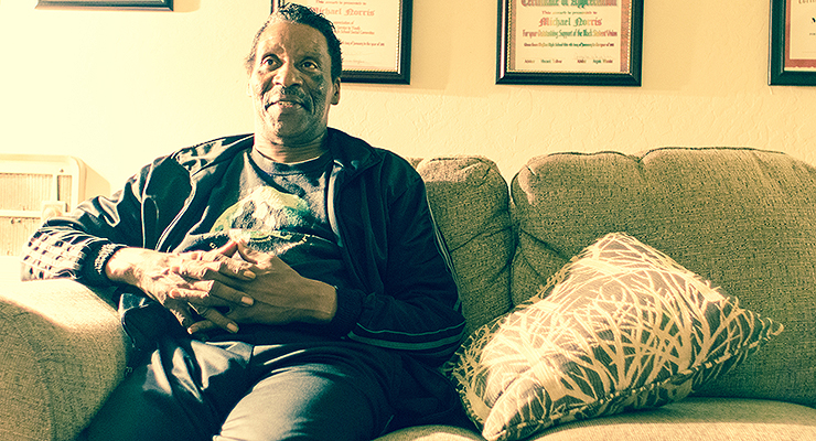 Mike Norris at his home in Oakland, Calif. (photo by Owen Watson)
