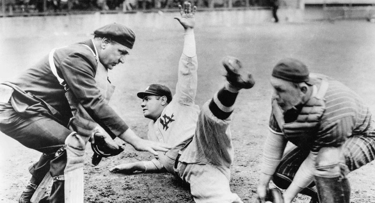 Not the pose in which we're accustomed to seeing Babe Ruth. (via Underwood Archive)