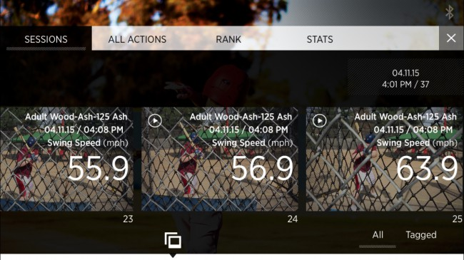 This is a screen shot of the Blast Motion baseball app. The Blast Motion device allows users to take video of their swing, then automatically edits the video for quick reference and analysis.