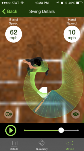 This is a screen shot of the Diamond Kinetics app, showing a 3D rendering of a swing. The user is able to view the swing from multiple angles and play back the bat location at any point during the swing.