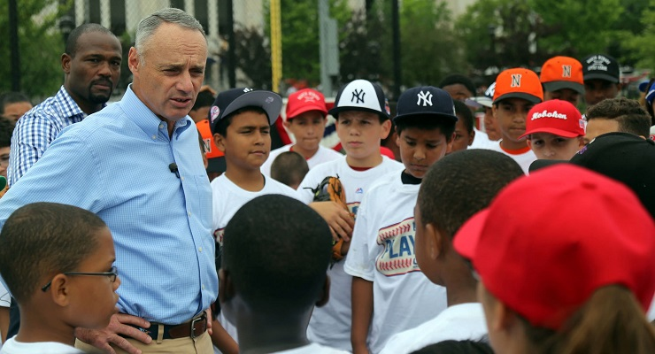 Commissioner Rob Manfred has been keeping an eye on the strike zone this year. (via Arturo Pardavila III)
