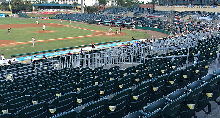 Fans are often dressed as empty seats at Roger Dean Stadium and the Florida State League in general. (via Chris Gigley)