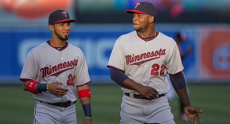 Miguel Sano, right, had a .918 OPS in Double-A, which got him promoted to the majors. (via Keith Allison)