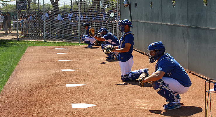 Multiple Dodgers catchers working with pitchers during 2015 spring training. (via Stacie Wheeler)