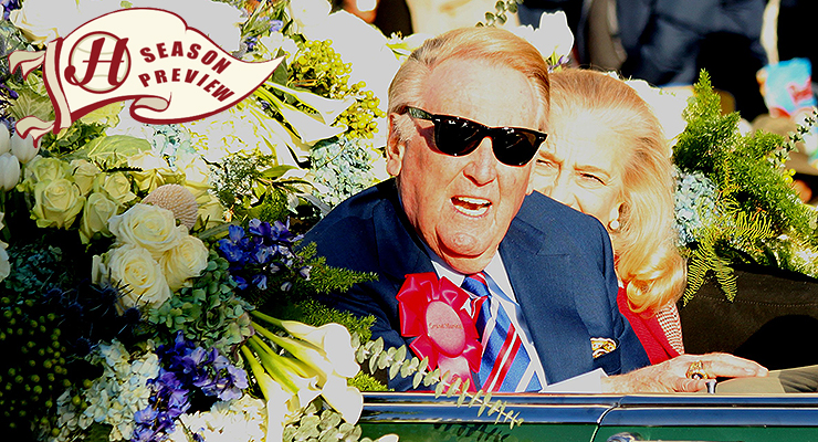 Vin Scully is entering his 67th and final season as the voice of the Dodgers and baseball. (via Prayitno & Howell Media Solutions)