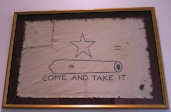 Replica of the Gonzales flag, complete with replica damage. (via Daniel Mayer)
