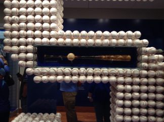 George Brett's 3000th hit, ball and bat. Observe the extent of the pine tar: he spent the last decade of his career trolling the Yankees.