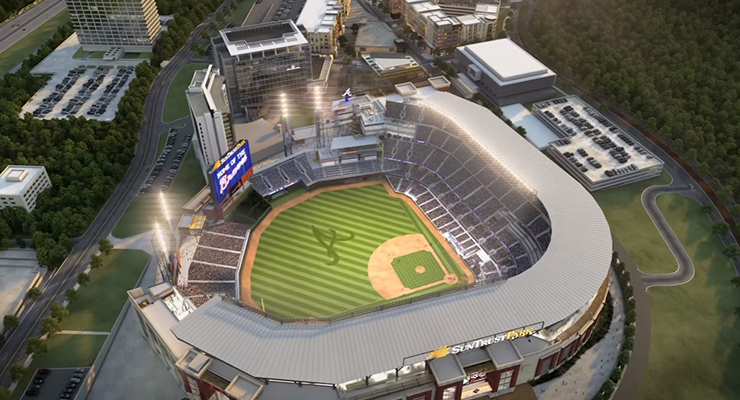 Traffic in Cobb County figures to get much worse with the 2017 opening of Suntrust Park. (via Pooooz)