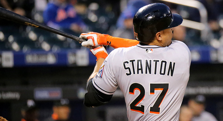 Giancarlo Stanton has the hardest-hit ball, but the launch angle prevented it from being a hit. (via Arturo Pardavila III)