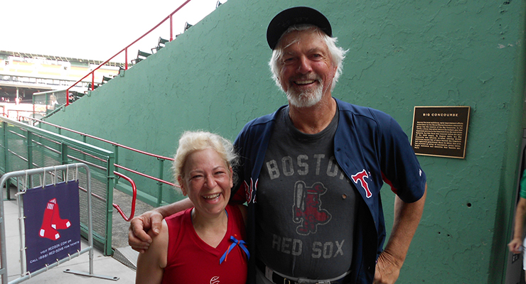 "Bill ""Spaceman"" Lee, pictured with a fan, is pitching and now also playing politics at age 69. (via slgckgc)"