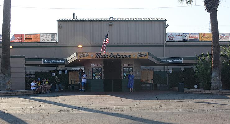 The main entrance at Sam Lynn Ballpark. (via Jen Mac Ramos)