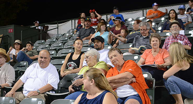 Fans in the grandstand watch on in the late innings as the Blaze go on to defeat the Ports, 11-8. (via Jen Mac Ramos)