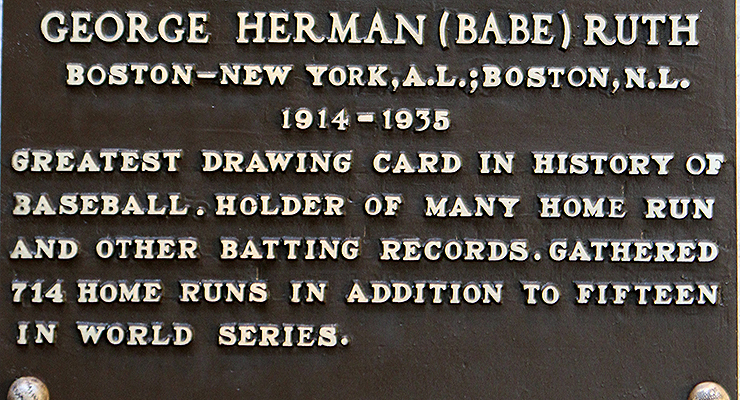 Babe Ruth's Hall of Fame plaque is nothing if not concise. (via Dan Gaken)