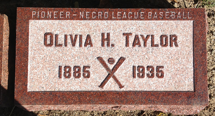 The marker on Olivia Taylor's grave in Indianapolis' Crown Hill Cemetery. (via Dr. Jeremy Krock)