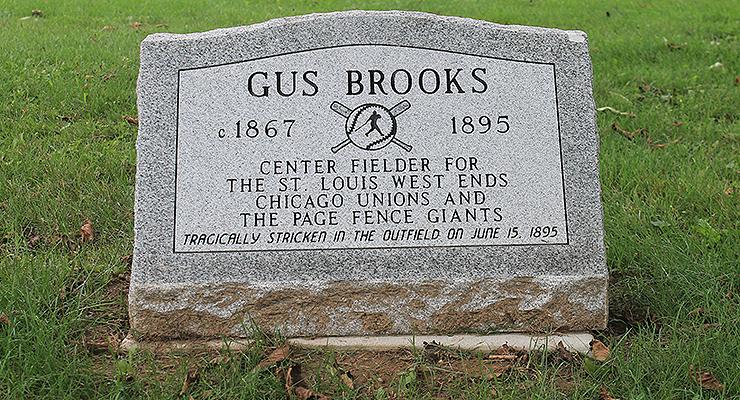 The marker on Gus Brooks' grave in Oakwood Cemetery in Adrian, Mich. (via Dr. Jeremy Krock)