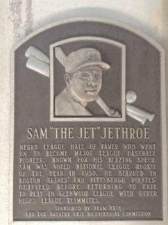Sam Jethroe, safe at home in Erie.