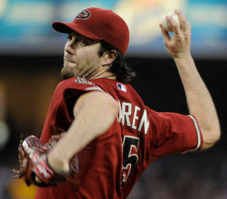 Haren throws a four-seam fastball