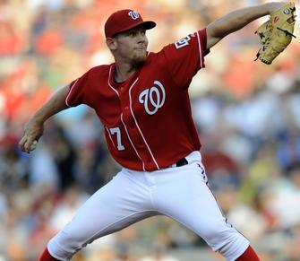 Strasburg throws a four-seam fastball